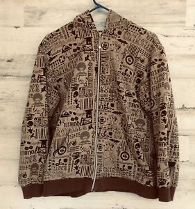 QUIKSILVER GRAPHIC HOODIE JACKET YOUTH XL 20 (BROWN)
