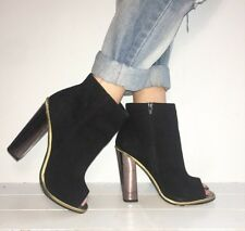 TOPSHOP Black Suede Peep Toe Block Heel Ankle Boots Size 6 / 39