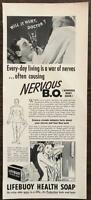 ORIGINAL 1940 Lifebuoy Health Soap PRINT AD Everyday Living is a War of Nerves