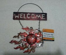 METAL TIN HANGING WELCOME BROWN SUN SIGN HOME GARDEN DOOR WALL NEW