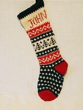 "Handcrafted Artisan Hand Knit Holiday Christmas Stocking - monogram ""John"""
