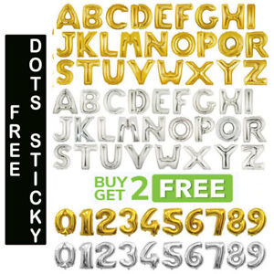 """Gold & Silver 32"""" Alphabet A-Z Letter Number Foil Balloons NAME PARTY WEDDING"""