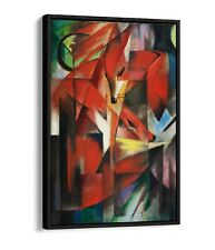 FRANZ MARC, THE FOXES -FLOAT EFFECT CANVAS WALL ART PIC PRINT- BLUE NAVY