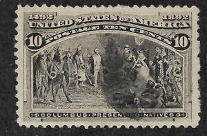 US # 237 (1893) 10c Columbus Presenting Natives  - Used - Paper Ripple - XF+