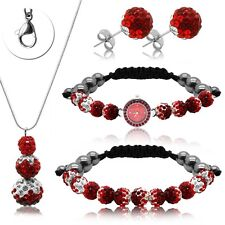 Shamballa Jewelry Set Watch Bracelet Necklace Earrings Ear Studs Women Pink Red