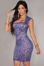 Women Sexy Lace Overlay Sleeveless Stretch Bodycon Mini Clubwear Dress S-XL