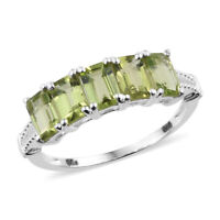925 Sterling Silver Octagon Peridot Ring Jewelry Gift Cttw 2.7