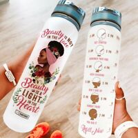 Motivational Water Tracker Bottle - African Women - 32 Oz Fruit Infusion