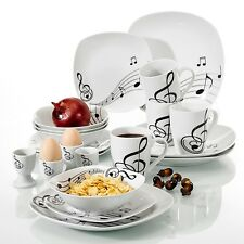 VEWEET 20-Piece Porcelain Dinner Set Tableware Bowl Soup Side Plate Musical Note