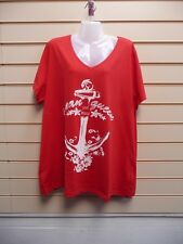 LADIES T- SHIRT RED SIZE 22/24 SUMMER PRINT DETAIL COTTON SHEEGO BNWT (G017