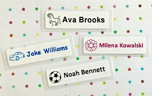 Personalised Waterproof Iron On Name Labels for clothes school uniform, stretchy