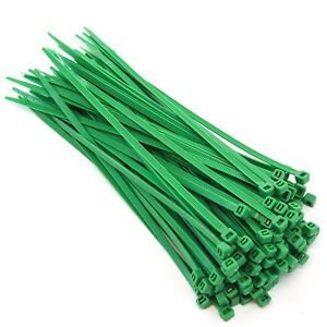 """100 Pack Heavy Duty 8"""" (50lbs) Zip Cable Tie Down Strap Wire Uv Green Nylon Wrap"""