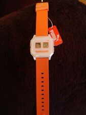 Puma Watch Wrist Band Ladies Flat Screen White Orange Gym Running bnwt