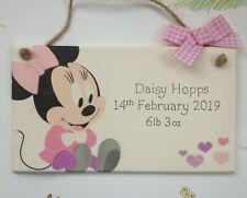 Personalised Disney Minnie Mouse Plaque Door Bedroom Sign Girl Boy Baby Newborn