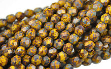 50 YELLOW PICASSO GLASS FACETED LOOSE BEADS 6MM