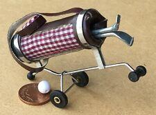 1:12 Scale Burgundy Checked Golf Caddy & Clubs Garden Sport Trolley Accessory