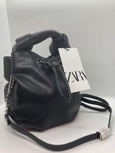 ZARA small  BUCKET BAG black crossbody shoulder bag NEW