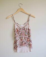 Women's Love Fire Floral Tank Top Shirt with Ruffles Size XS