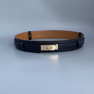 Genuine Epsom Leather Wide Belt With Gold or Silver tone twist close hardware