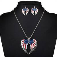 USA Enamel Angel Wing Flag Angel Wings Necklace Earring Set Jewelry Sets