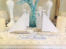 4 Driftwood Sailboat  Linen Sails  Nautical Decor Wedding Center Peice