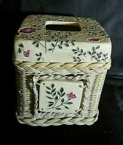 TISSUE BOX COVER - Resin Coated Woven Basket Base, Resin Top - Ivory w/Flowers
