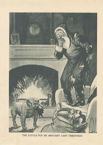 BULLDOG WITH SANTA CLAUS CHRISTMAS ANTIQUE PRINT 1909