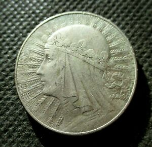 BIG OLD SILVER COIN OF POLAND 10 ZLOTY 1932 QUEEN JADWIGA SECOND REPUBLIC Ag (G)