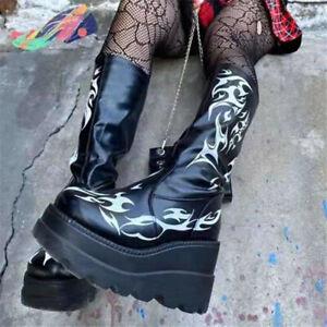 Womens Punk Black Flame Printed Block Heels Goth Knee High Boots Nightclub Shoes