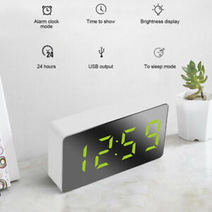 Digital Alarm Clock Mirror Clock Dimmable Led Electronic Digital Desktop Snooze*
