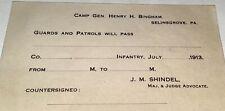 Rare American Military Camp Gen. Henry H Bingham Pass! PA National Guard! C.1913