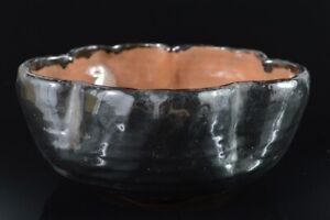 L8334: Japanese Old Oribe-ware Black glaze Kashiki DESSERT BOWL/dish, auto