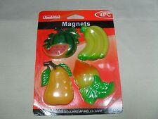 Set of 4 Magnetic Memo Holders/ Refrigerator Magnets Fruit & Vegetable Shape #1