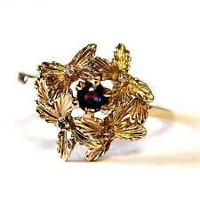 14k yellow gold .005ct I2 H womens diamond ruby leaf ring 3.2g estate size 6.75