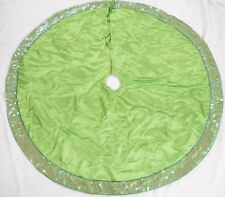 Christmas Tree Skirt Lime Neon Green with Blue Beads Clear Sequins Mod Funky