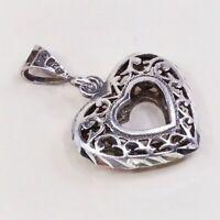Vintage Sterling Silver Handmade Heart Pendant, 925 Silver Puffy Filigree Charm