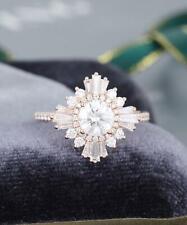 1.00 Ct Round Moissanite Vintage Halo Flower Engagement Ring 14K White Gold Over
