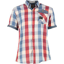Crosshatch Men's Size Small Short Sleeve Check Red / Blue Summer Holiday Shirt