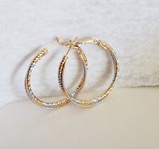 """Exsquisite two tone rose gold filled double hoop  1.25"""" inch hoop earrings"""