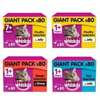 80+x+100g+Whiskas+Wet+Cat+Food+Pouches+Poultry+Fish+Meaty+in+Jelly+or+Gravy