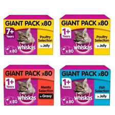 More details for 80 x 100g whiskas wet cat food pouches poultry fish meaty in jelly or gravy