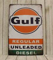 Gulf Gas Stations Oil Tin Sign Art Vintage Style Advertisement Man Cave Garage