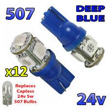 12 x Blue 24v Capless Hella Spot Light 507 W5W 5 SMD T10 Wedge Bulbs HGV Truck