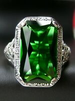 6ct *Emerald* Sterling Silver Nouveau Floral Filigree Ring Size {Made To Order}