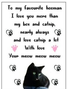 Personalised funny black cat Birthday Card gift friends, family, mum dad, sister