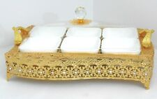 Handle & metal serving tray with 6 ceramic condiment bowls / Home decorative