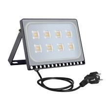 50W LED Fluter Mit EU Stecker Außen Strahler Scheinwerfer Flutlicht Warmweiß DHL