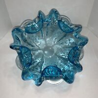 Vintage Murano Art Glass Bullicante Blue Folded Corner Bowl Ashtray Smooth Base