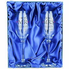 Personalised Engraved Mr & Mrs Champagne Flutes Glasses Wedding Anniversary Gift