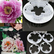 4pcs New Peony Flower Fondant Mold Sugarcraft Cake Cookies Embosser Cutter fed L
